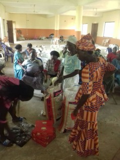 A small group of Widows of Umuagungulori in Abia State sharing gift items from a philanthropist on international Widows day 23rd of June